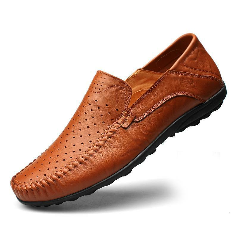 mens summer slip on loafer leather casual dress shoes