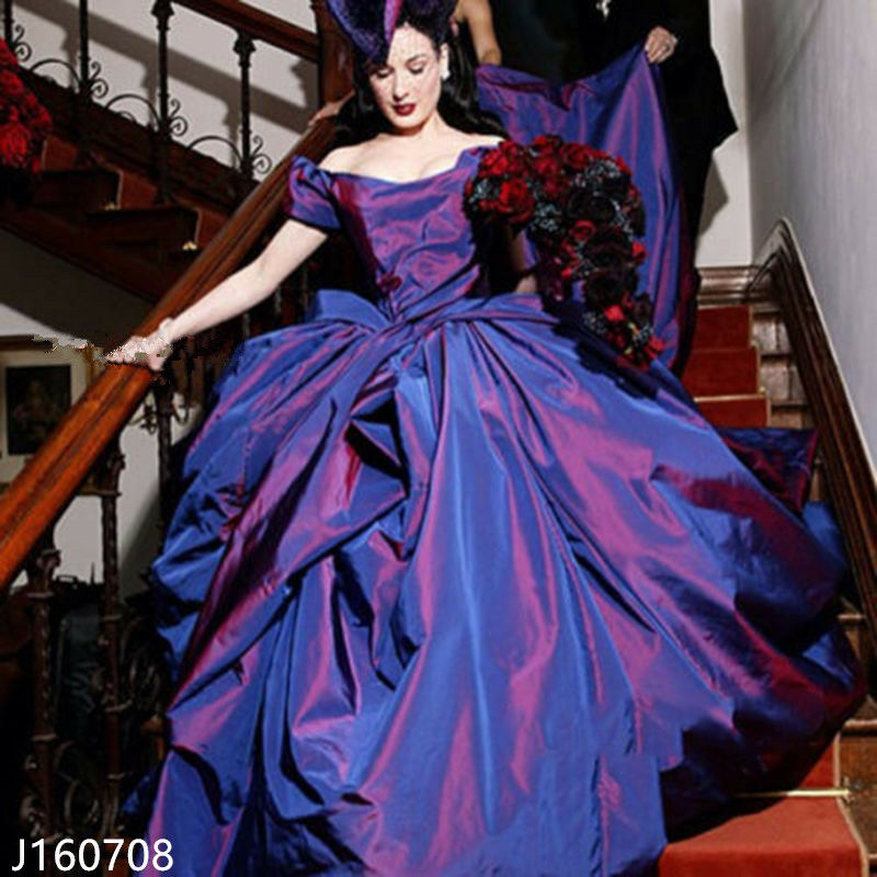 Vintage Purple Taffeta Wedding Dresses Bridal Ball Gowns