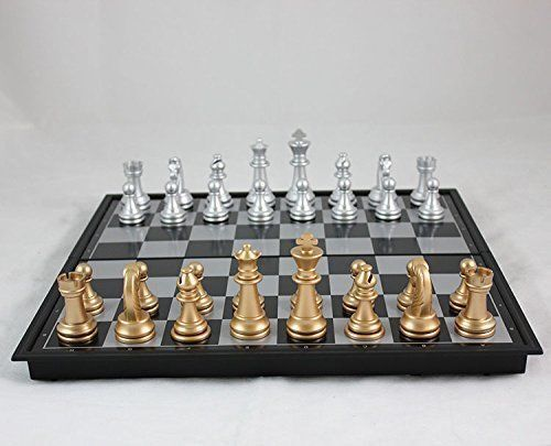 NEW Magnetic Gold Silver Folding Chess Board Game Set/High ...