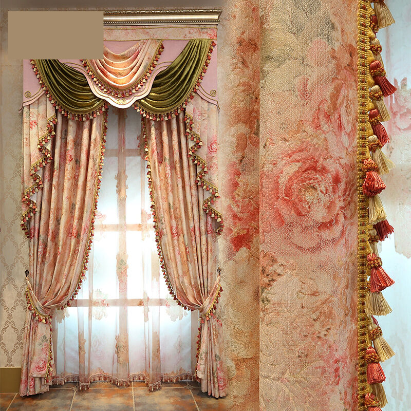Curtains luxury european garden jacquard floral living - European style curtains for living room ...