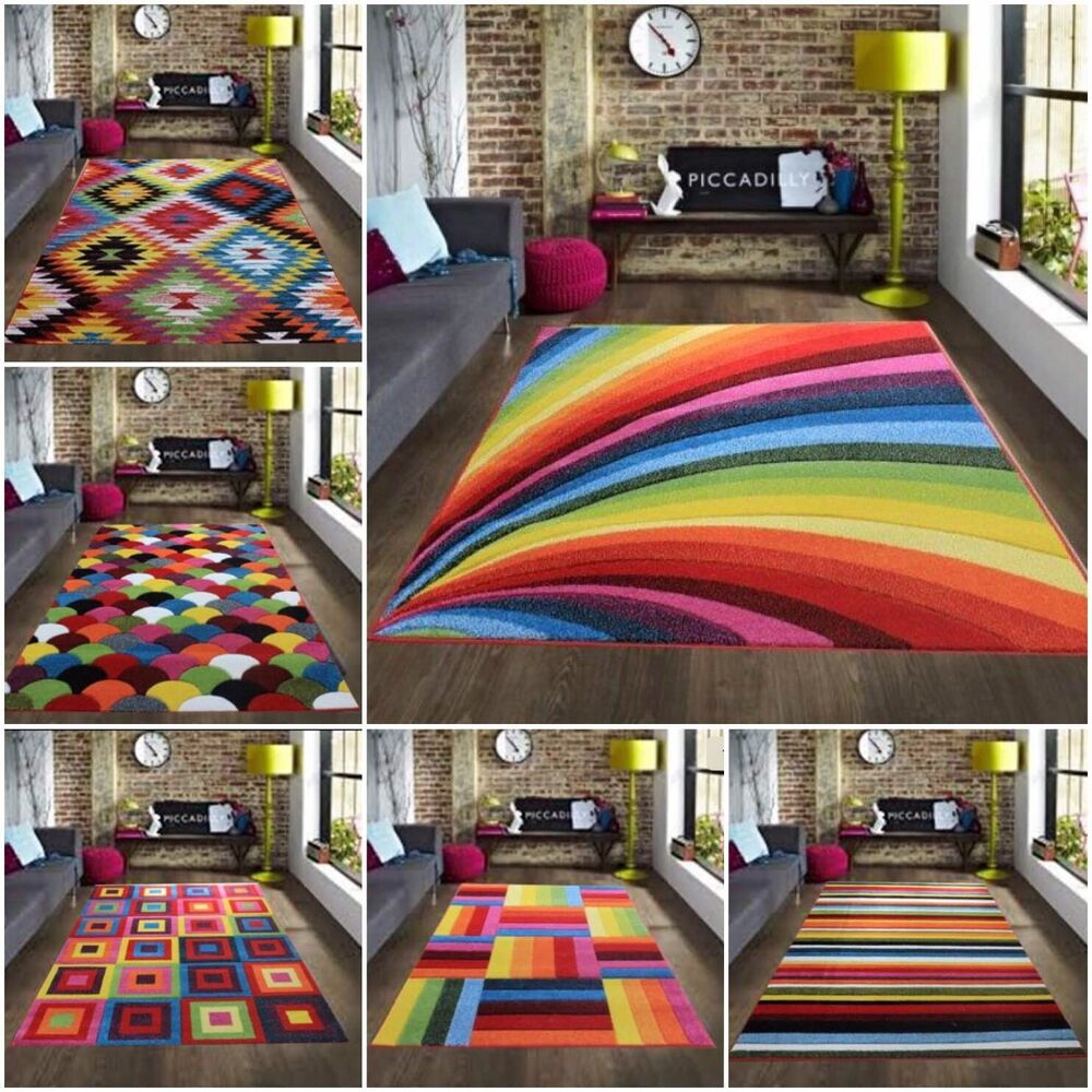 Runner Rug Diy: Multi Coloured Funky Bright Modern Thick Rugs Soft Heavy