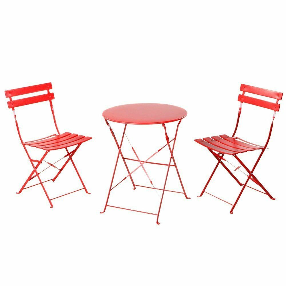 outdoor balcony folding steel bistro furniture sets foldable table and chairs ebay. Black Bedroom Furniture Sets. Home Design Ideas