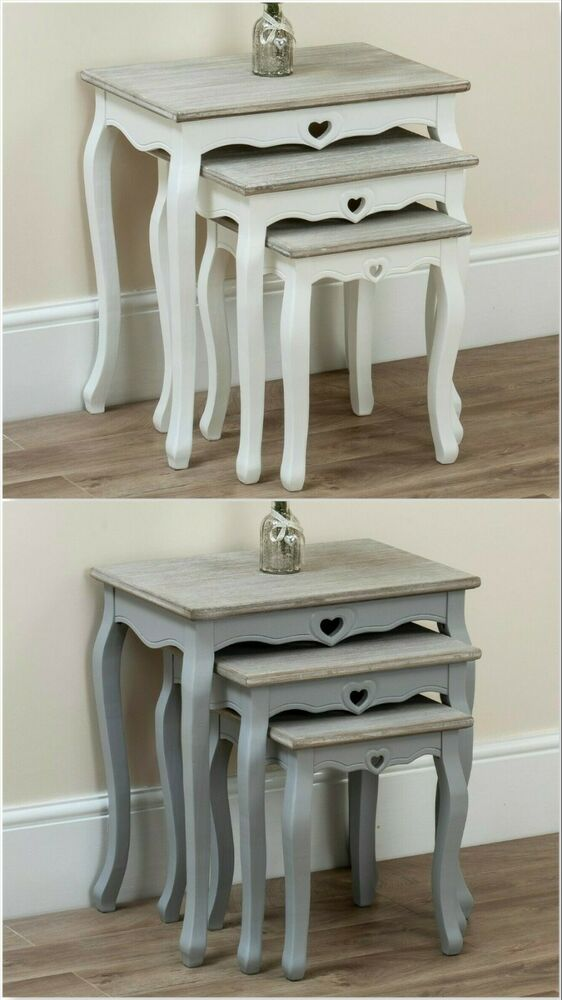 Nest of tables scandinavian matt white grey retro coffee side table oak leg ebay Coffee table and side table