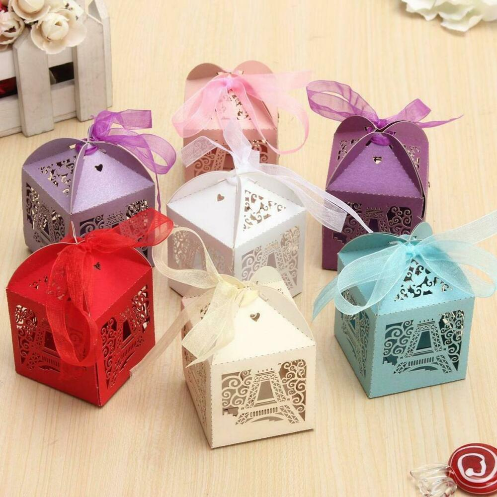 50 Laser Cut Eiffel Tower Paper Sweet Candy Boxes Wedding Party ...