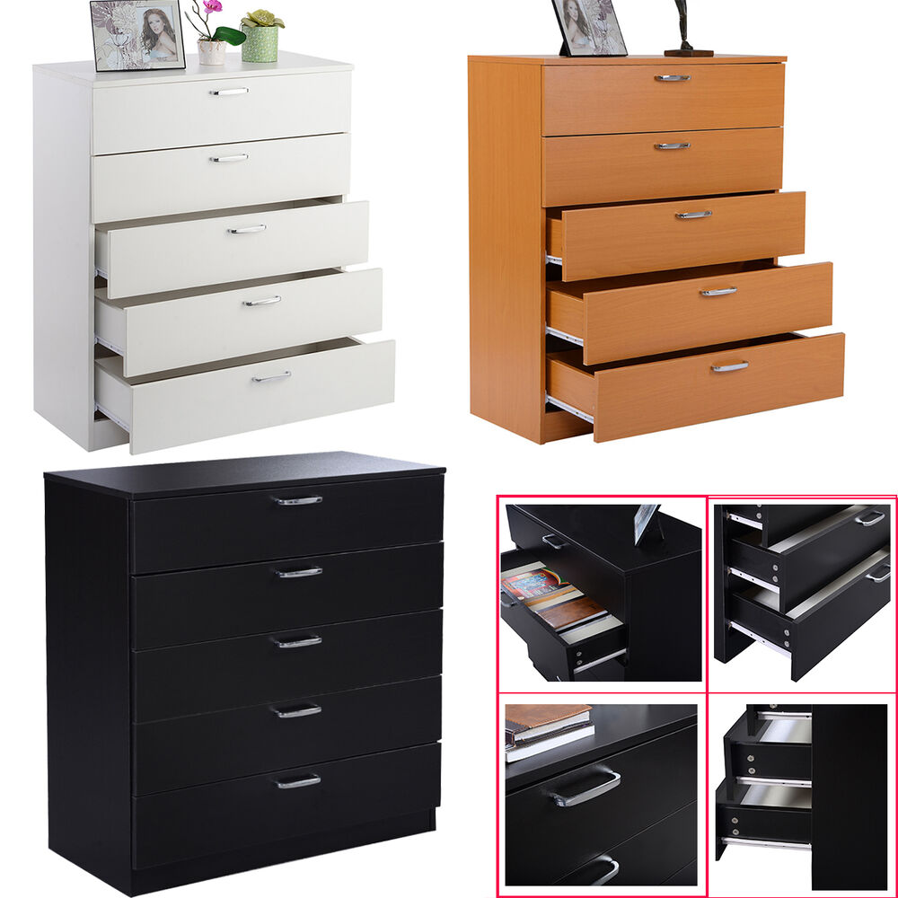Wide chest of 5 drawers bedroom furniture w anti bowing Handles for bedroom furniture