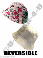 GIRLS BEAUTIFUL REVERSIBLE SUN HAT WITH HEARTS. 2 SIZES. ONLY 3.99!!