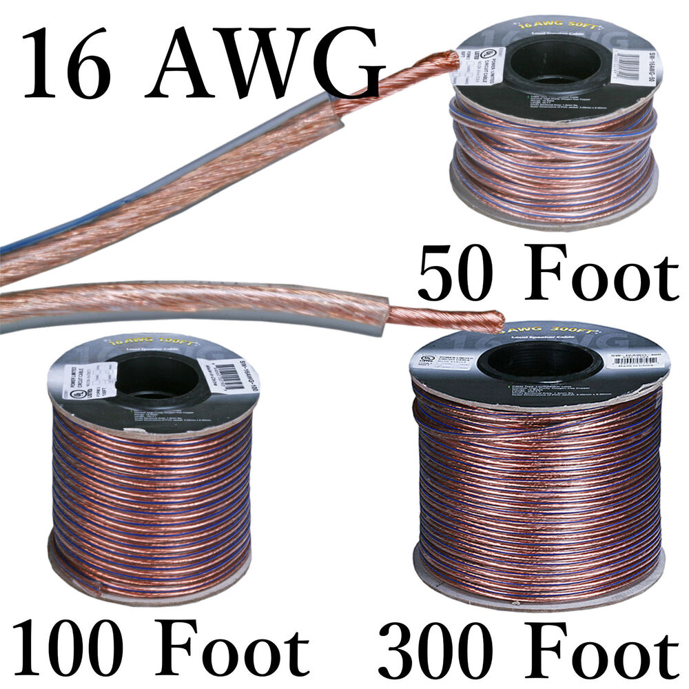 16 AWG Oxygen-Free 99.95% Pure Copper Speaker Wire 2 Conductor ...