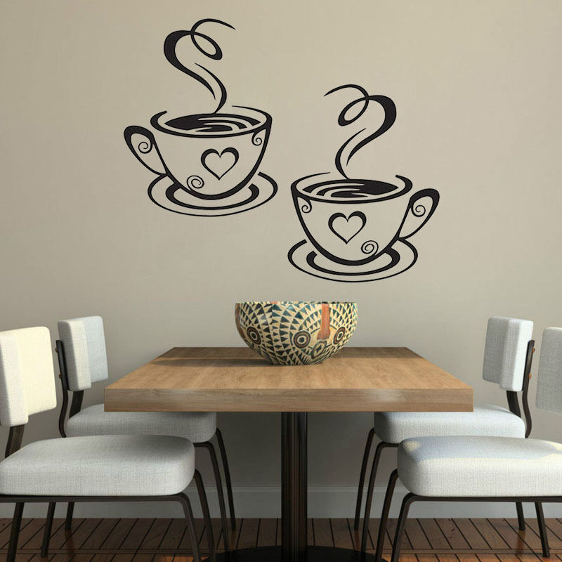Coffee cups cafe tea wall stickers art vinyl decal kitchen for Sticker para decorar dormitorios