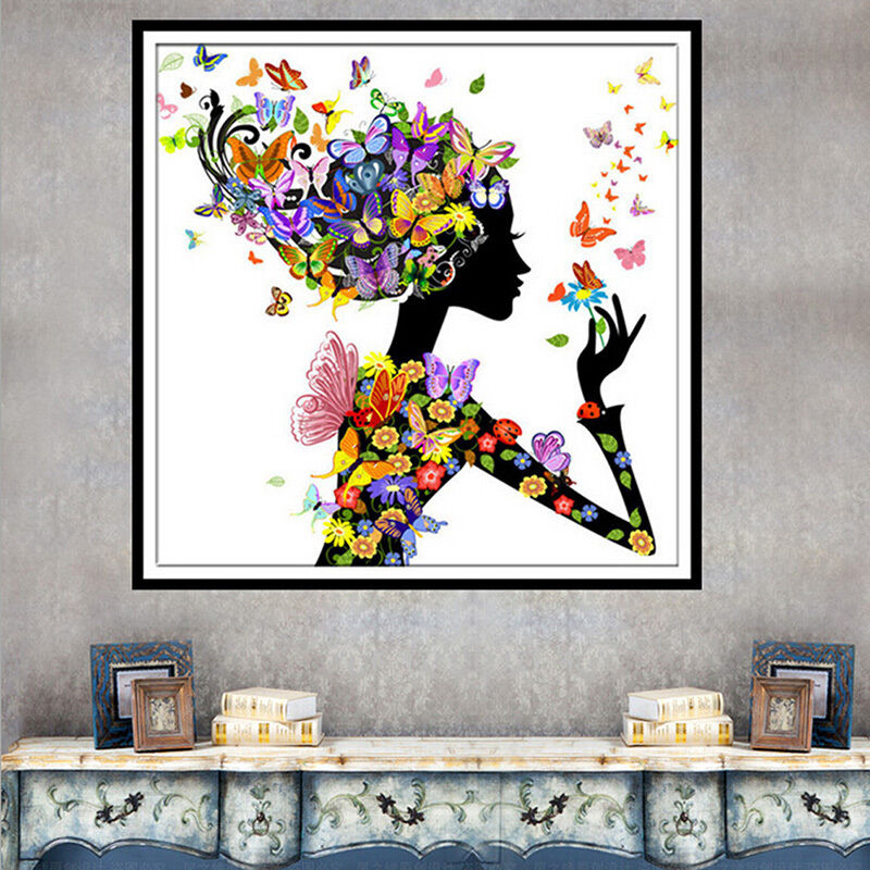 Diy 5d Butterfly Beauty Lady Diamond Embroidery Painting