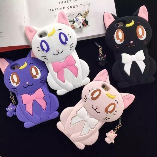 Hot Cartoon 3D Silicone Sailor Moon Luna Cat Cute Soft Case Cover for ...