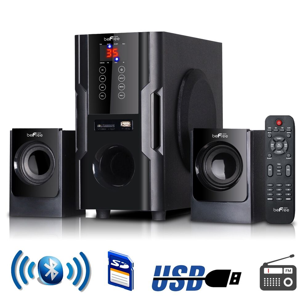 2 1 channel surround sound bluetooth home stereo speaker home theater system usb ebay. Black Bedroom Furniture Sets. Home Design Ideas