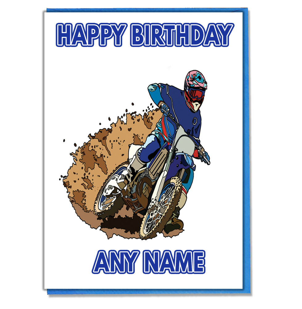 Personalised Motocross Birthday Card - Son Dad Husband Boyfriend ...
