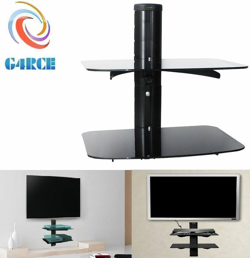 2 Tier Floating Wall Mount Bracket Shelf Sky Box Dvd Xbox