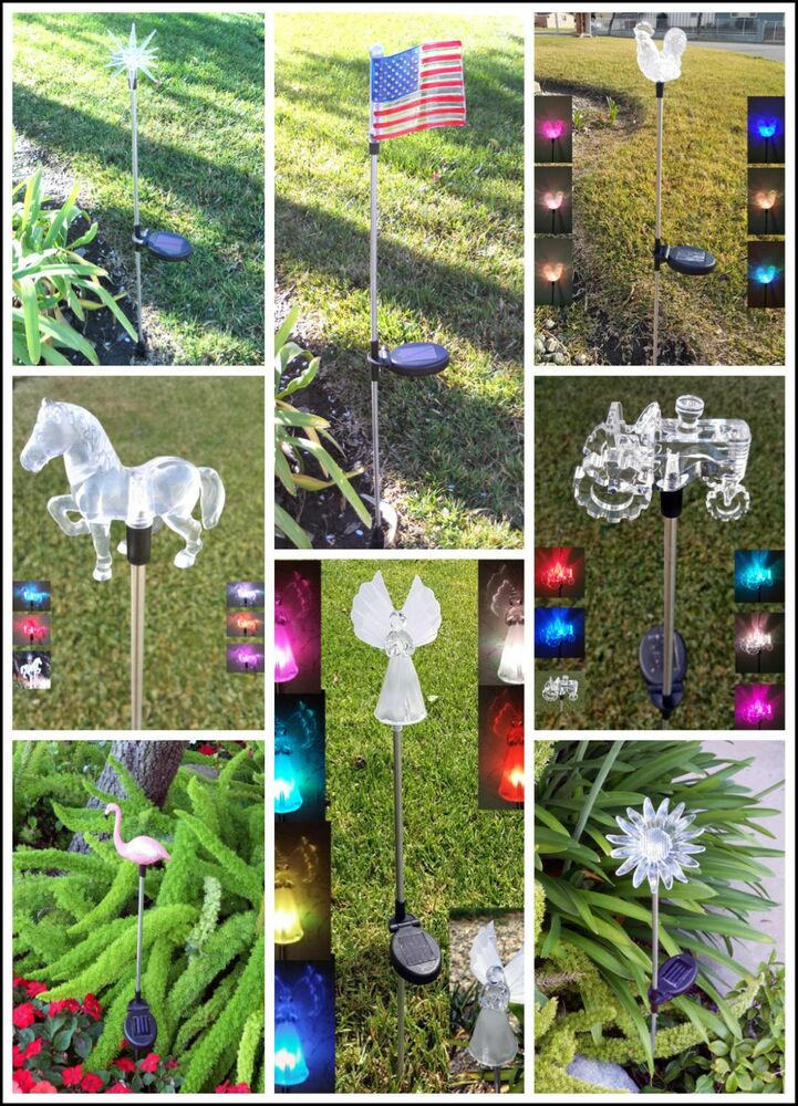 Garden Decoration Solar Powered Color Changing Yard Lawn Patio Stake Light Ebay