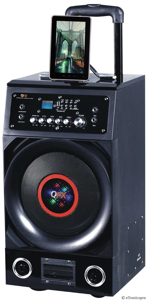 bluetooth 600w portable battery powered speaker w amplifier mic usb disco light ebay. Black Bedroom Furniture Sets. Home Design Ideas