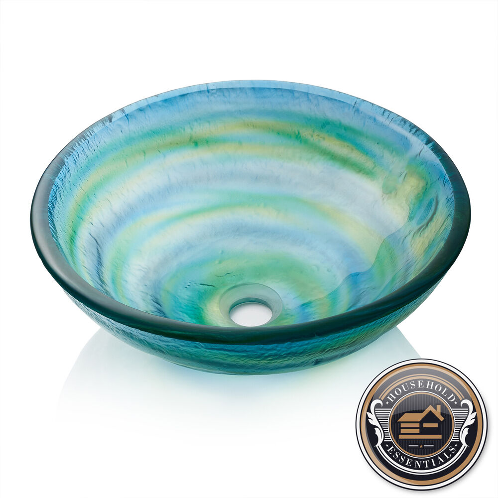 Bathroom Glass Vessel Sink Round Tempered Vanity Basin Blue Green And Yellow Ebay
