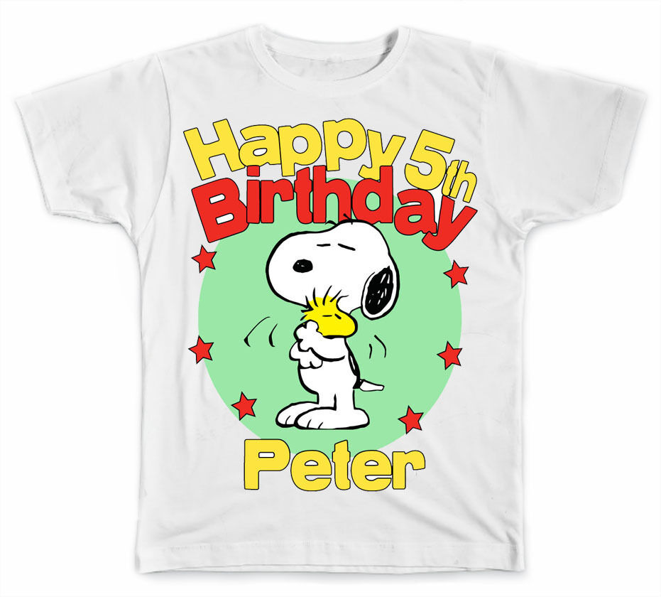 personalized snoopy and woodstock birthday t shirt ebay. Black Bedroom Furniture Sets. Home Design Ideas