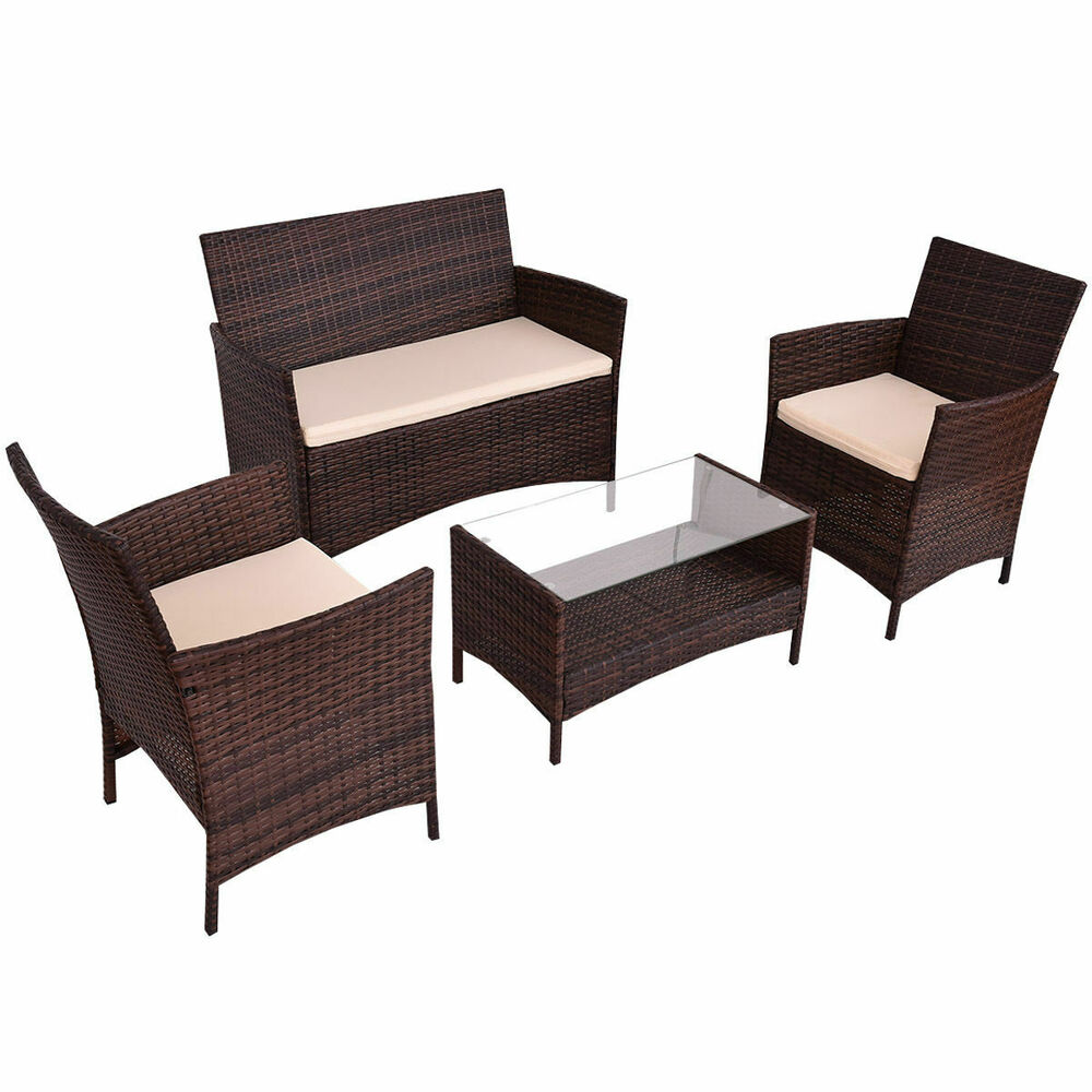 4pcs outdoor patio pe rattan wicker table shelf sofa furniture set with cushion ebay. Black Bedroom Furniture Sets. Home Design Ideas