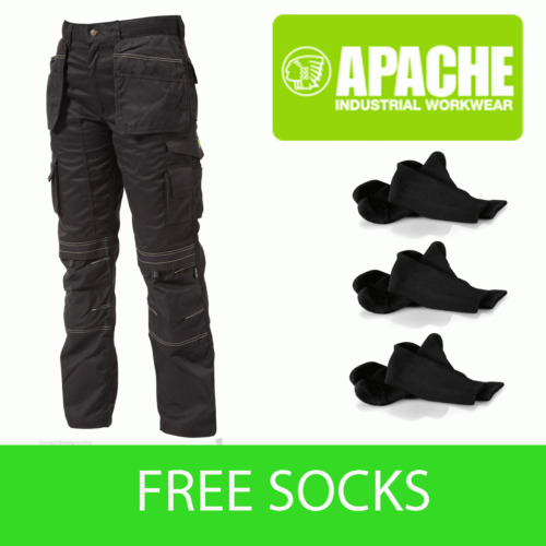 Apache Black Knee Pad Holster Work Trouser APKHT- BLACK- Socks Included