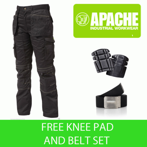 Apache Black Knee Pad Holster Work Trouser APKHT- BLACK- Belt & Pads Included