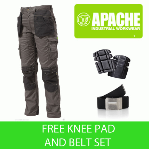 Apache Knee Pad Holster Work Trouser APKHT- GREY - Knee Pads & Belt Included