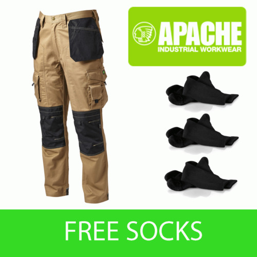 Apache Knee Pad Holster Work Trouser APKHT- STONE - Socks Included