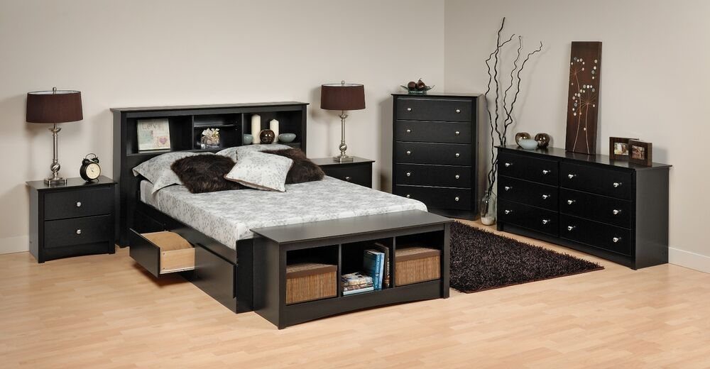 Prepac Sonoma Platform Storage Bed, Dresser, Chest