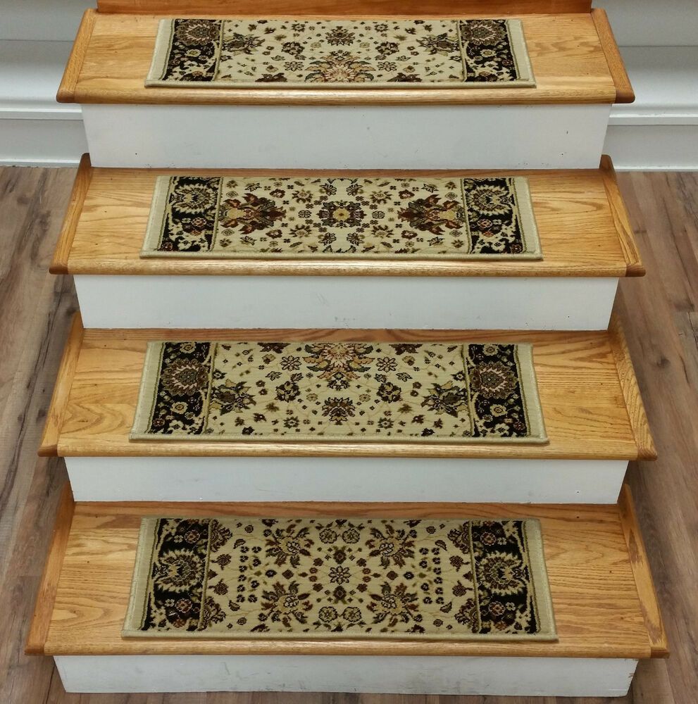 rug depot 13 traditional carpet stair treads 26 x 9 staircase rugs beige poly ebay. Black Bedroom Furniture Sets. Home Design Ideas