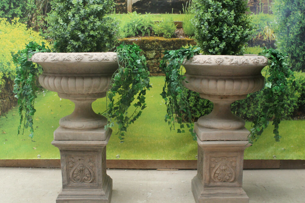 Landscaping With Urns : Two stone garden statues urns plinths