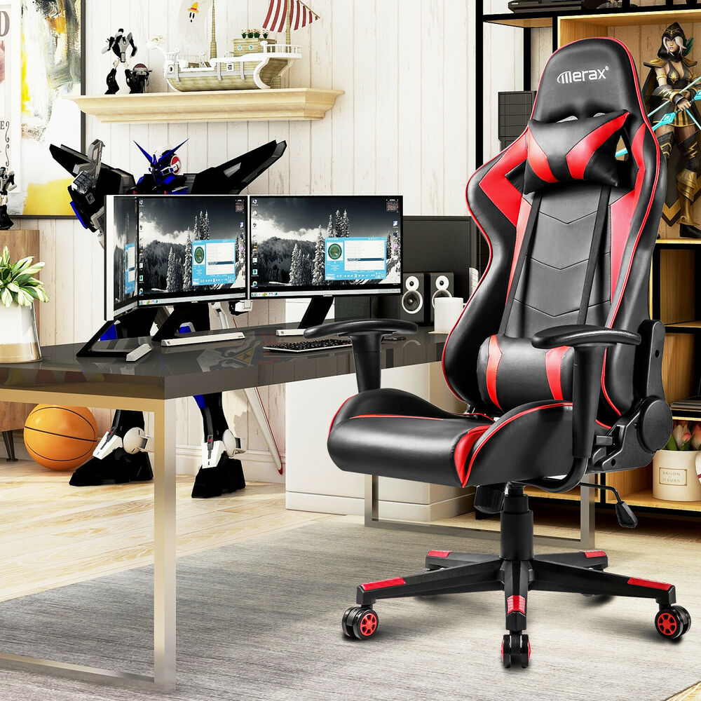 merax pu leather racing gaming chair race car seat high back office desk chair ebay. Black Bedroom Furniture Sets. Home Design Ideas