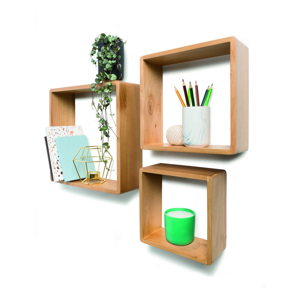 Set of 3 floating wall cube book shelves square storage home decor natural brown ebay - Home decorated set ...