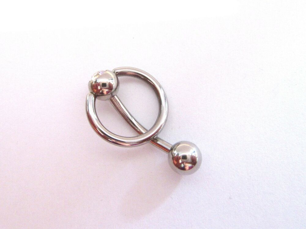 Surgical Steel Dangle Curved Barbell Bar VCH Clit Clitoral Hood ...