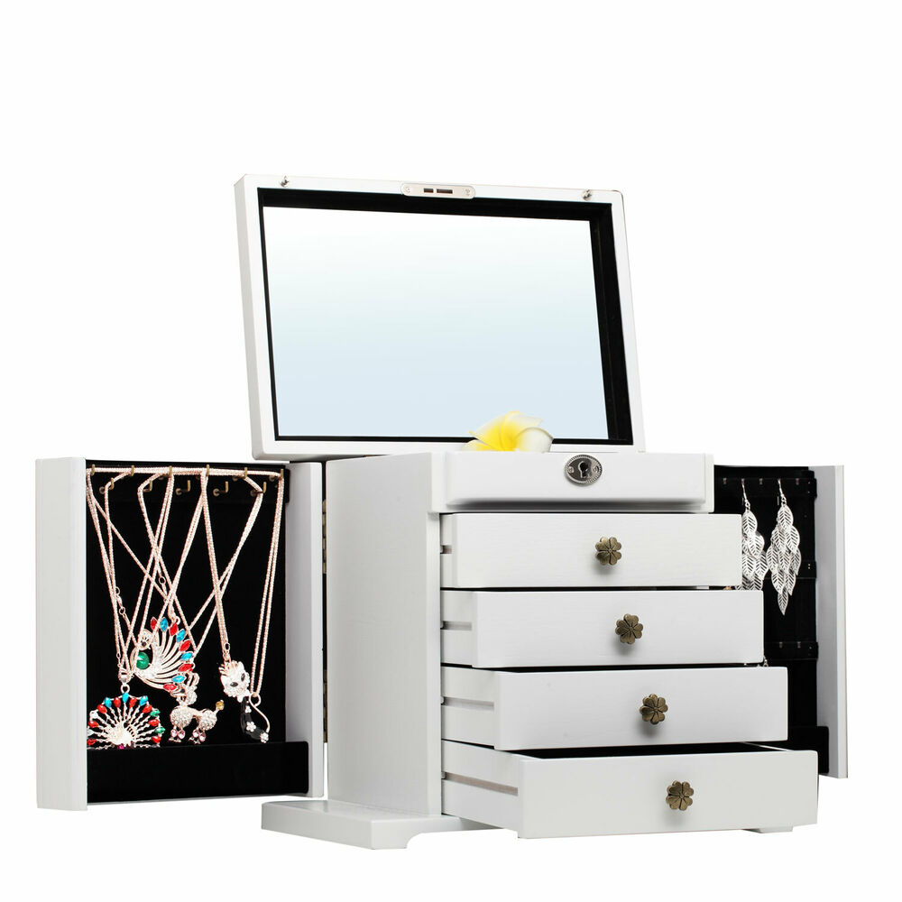 Wood Armoire Cabinet ~ Extra large white wooden jewelry box armoire cabinet chest
