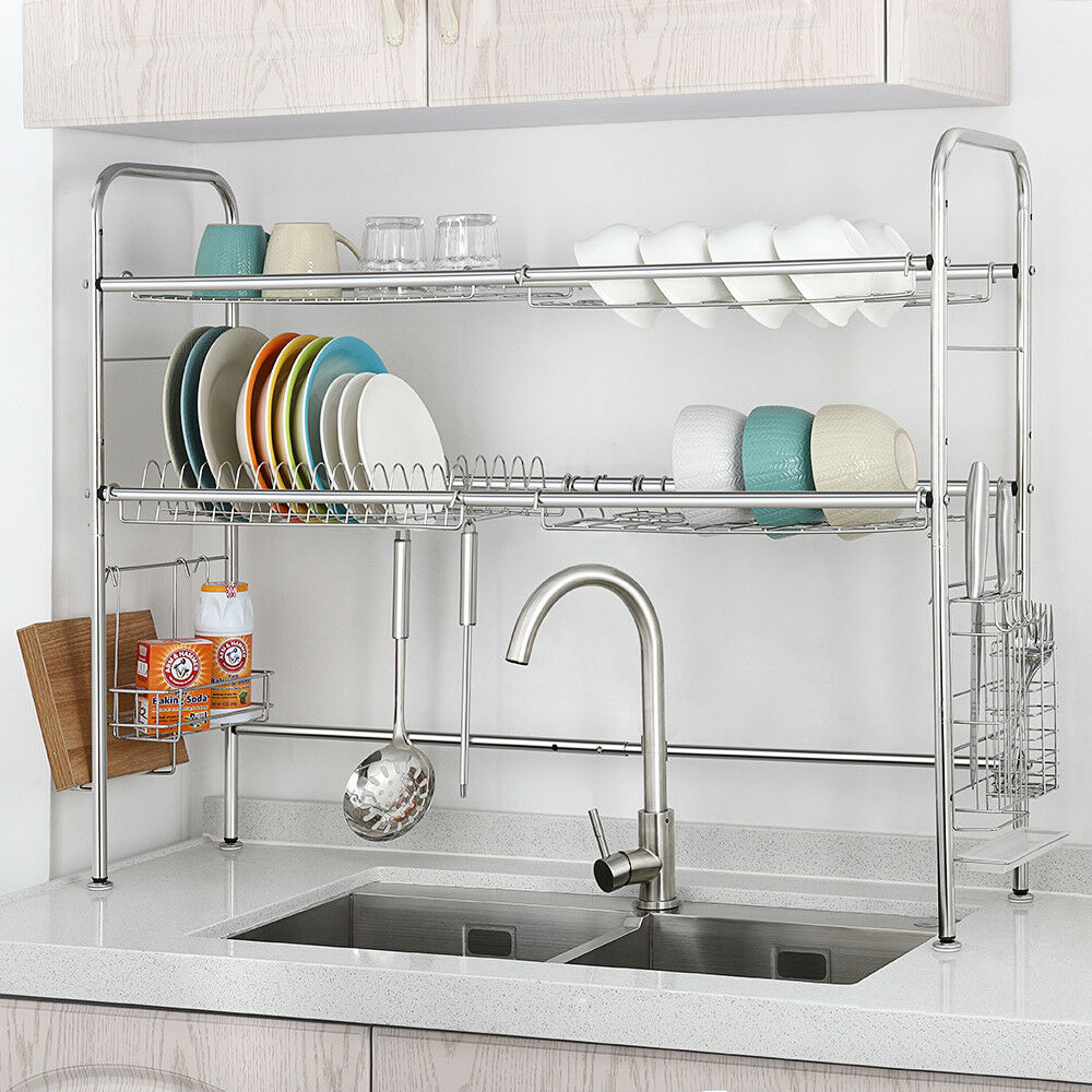 dish rack 2 tier double slot stainless steel dry shelf kitchen cutlery holder ebay. Black Bedroom Furniture Sets. Home Design Ideas