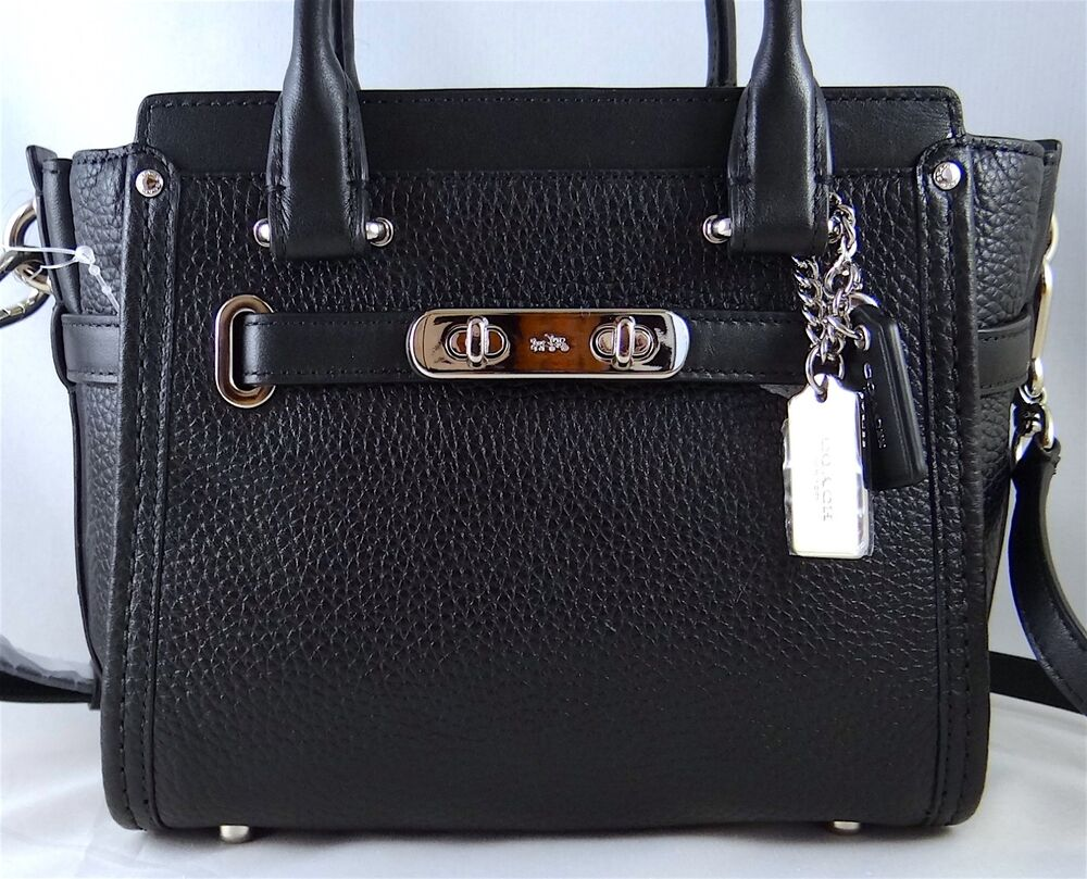Coach Swagger 21 Black Pebbled Leather Satchel Crossbody