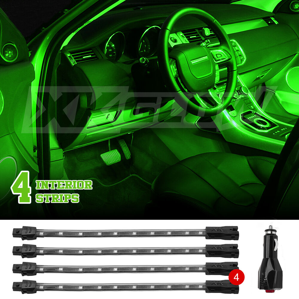 green 4pcs 36 led car neon accent light kit for utv car interior trunk truck bed ebay. Black Bedroom Furniture Sets. Home Design Ideas