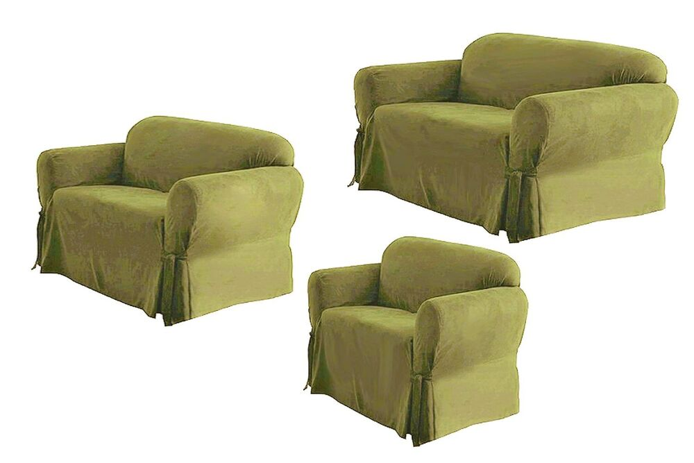 Solid Suede Couch Covers 3 Piece Sage Color Slipcover Set Sofa Loveseat Chair Ebay