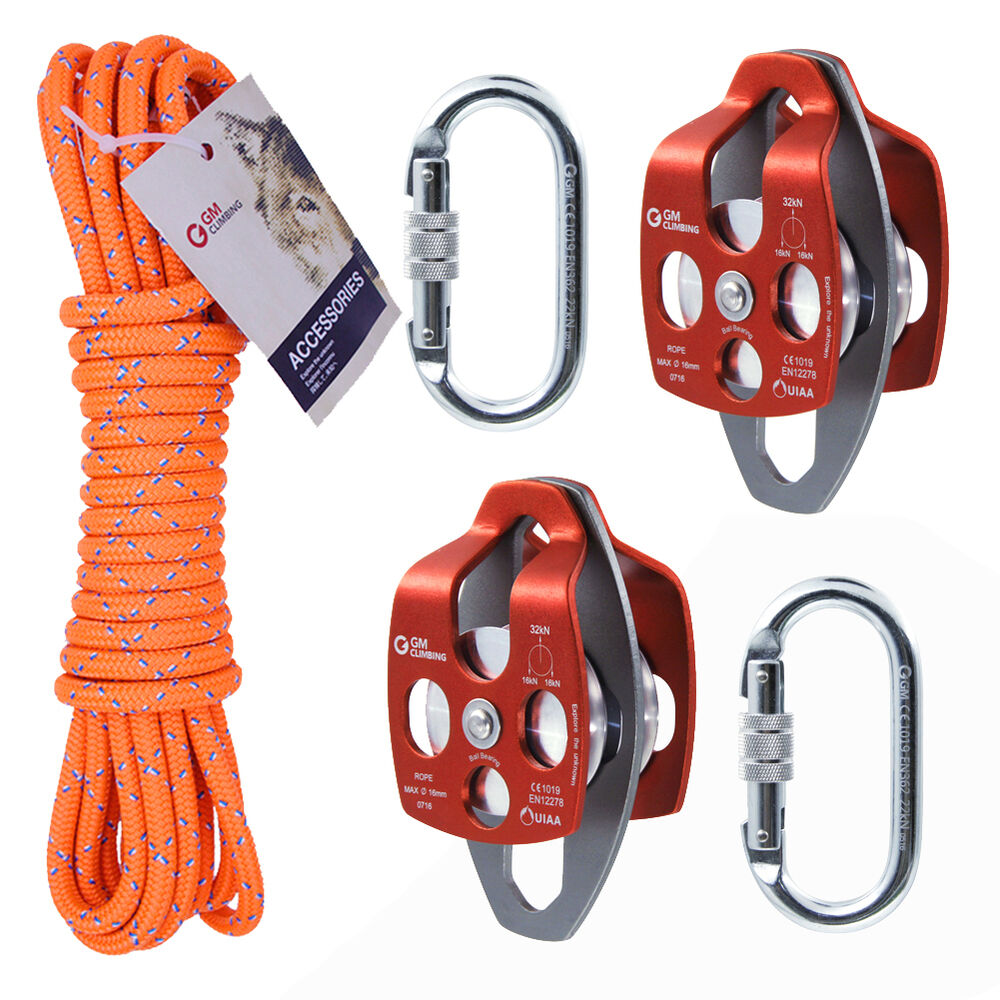 Block & Tackle Pulley Kit : Block and tackle kit of high quality for industry hauling system arborist