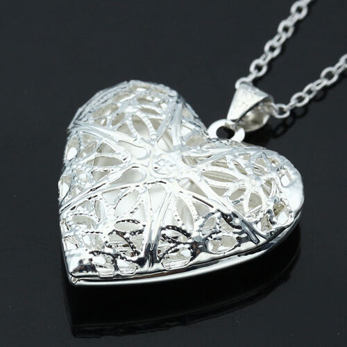 Living Memory Float Silver Plated Heart Locket Pendant Necklace Charm
