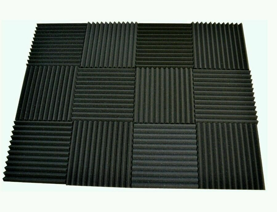 4 pack acoustic foam tiles 1 x 12 x 12 charcoal free for Sound proof wall padding