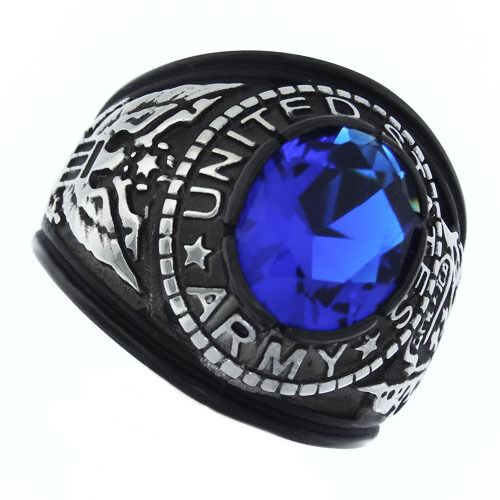 Blue Stone Us Army Military Tutone Black Plated Mens Ring