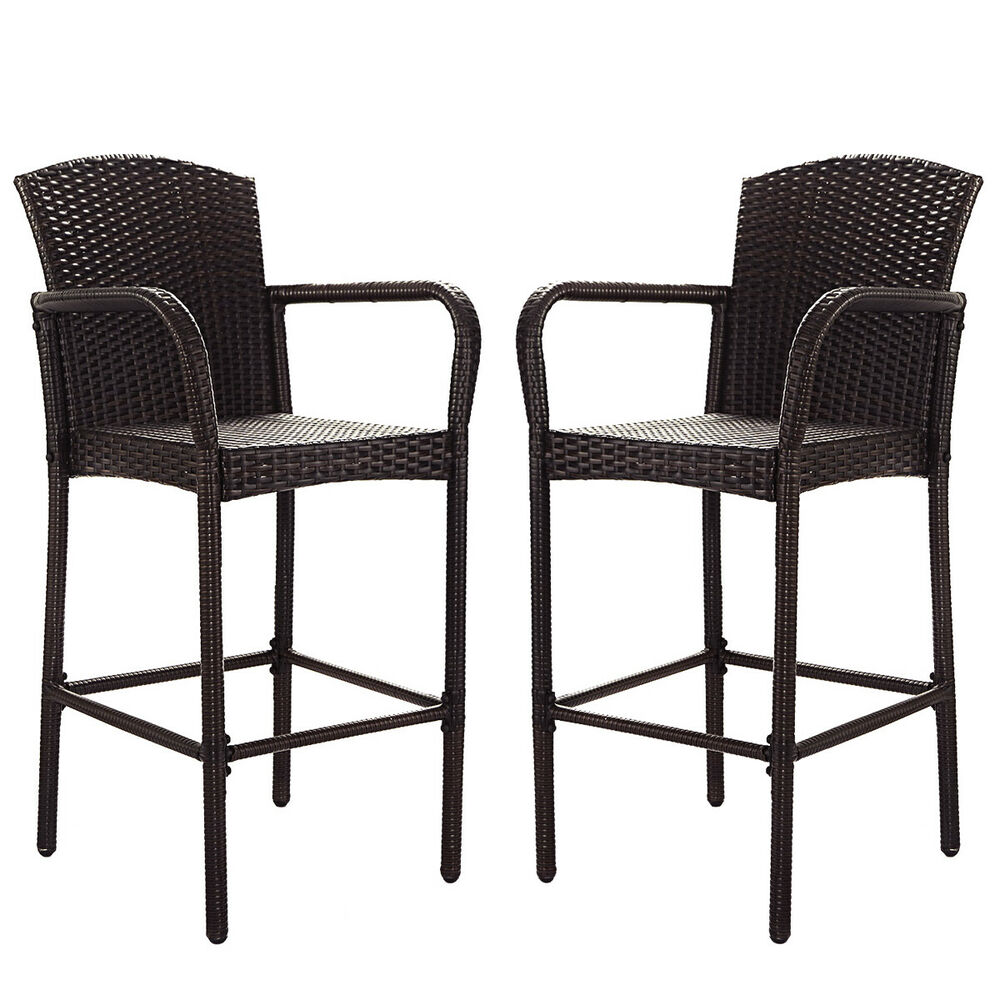 2 Pcs Rattan Wicker Bar Stool Dining High Counter Chair