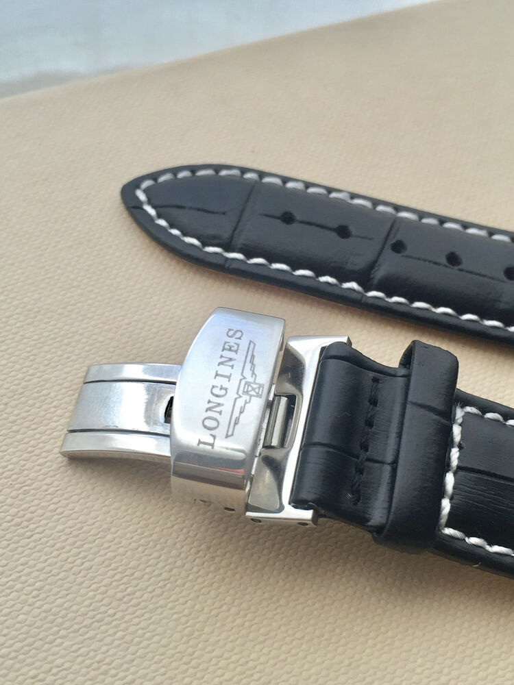 Watch strap genuine leather 18mm 20mm longines ebay for Longines leather strap