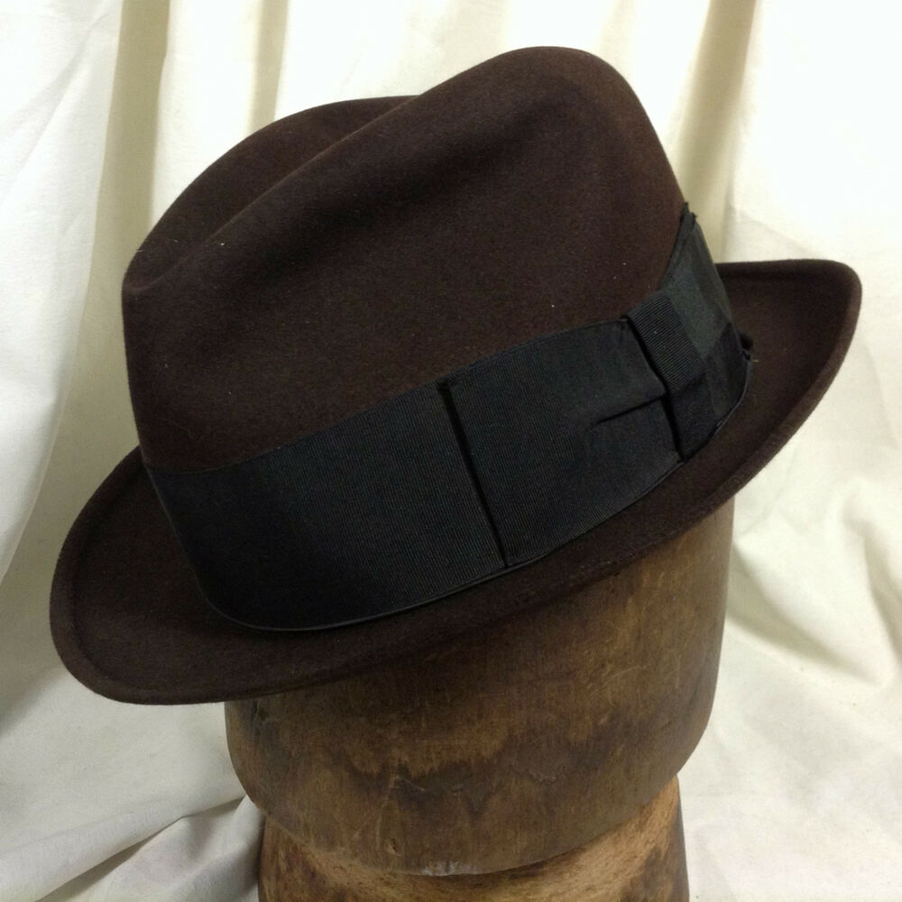 b786f70732d Details about Vintage Borsalino Dark Brown Fedora Hat Wind Trolley Size 6  7 8