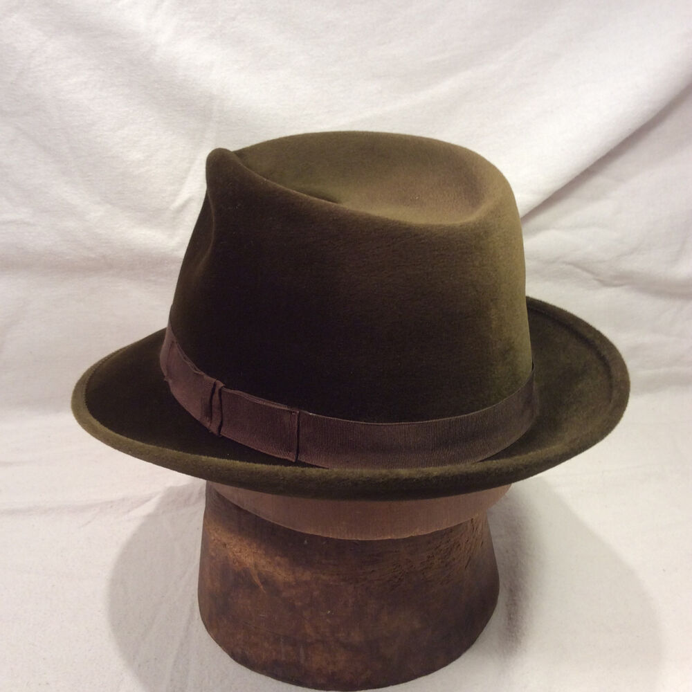 a115dfaec63 Details about Green Brown Borsalino Fedora Men s Hat Vintage Velour with  Brown Band -- Size 7