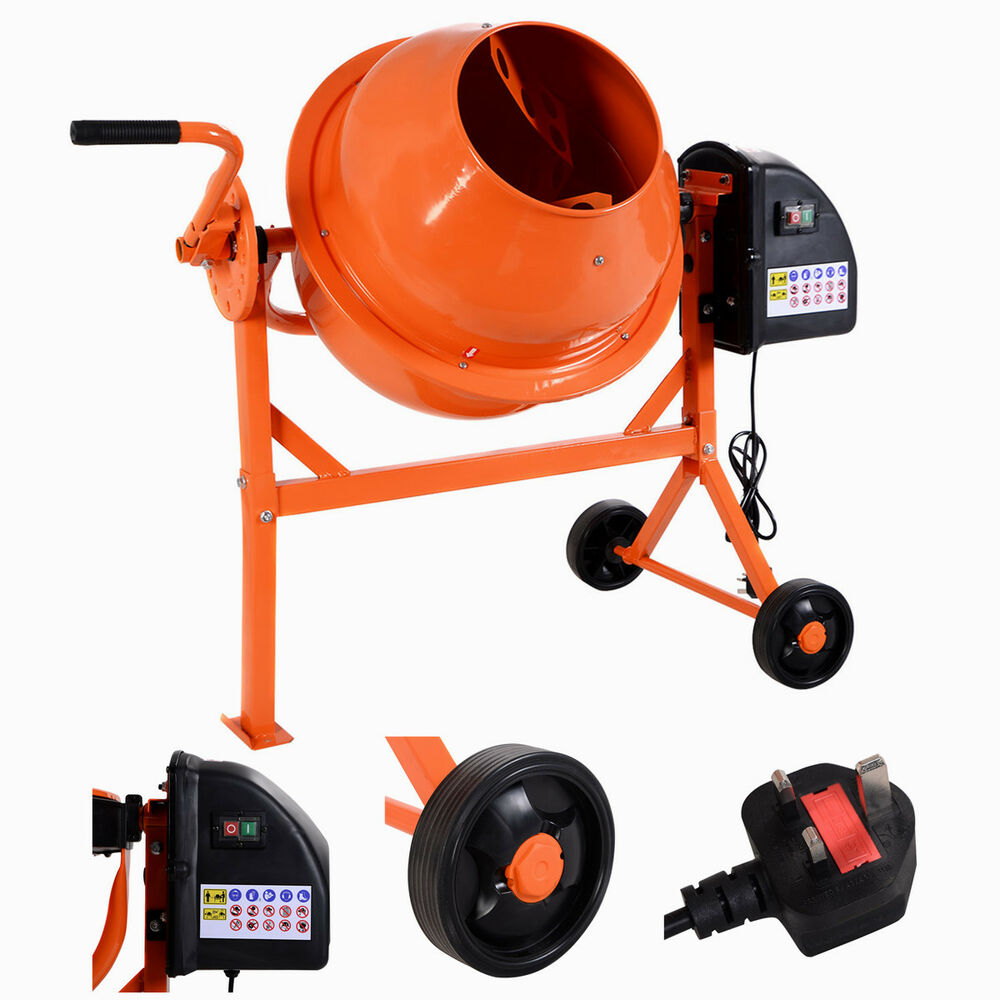 Cement Mixer Blades : L w electric concrete cement mixer drum portable