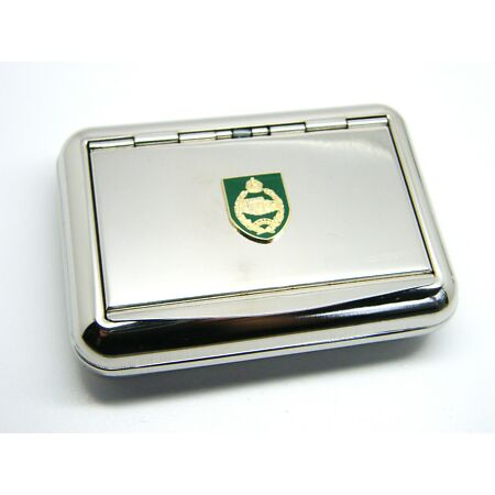 img-THE ROYAL TANK REGIMENT ARMY BADGE HARD METAL CHROME PLATED TOBACCO TIN MILITARY