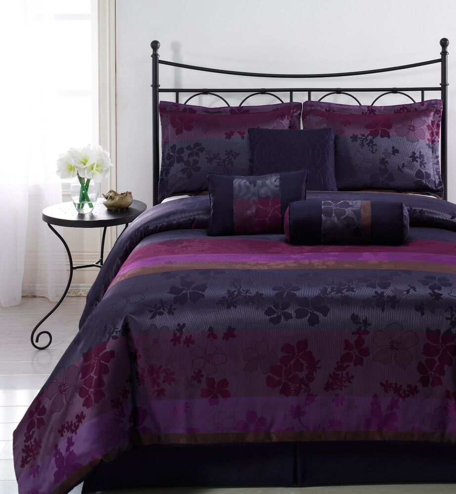 Liz 7pc Jacquard Multi Purple Color Comforter Set Queen