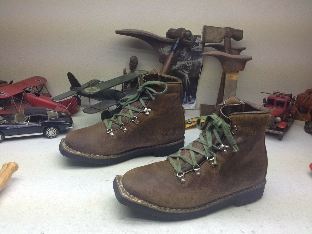 vintage vasque brown leather lace up square toe mountaineer ski boss boots 12d ebay. Black Bedroom Furniture Sets. Home Design Ideas