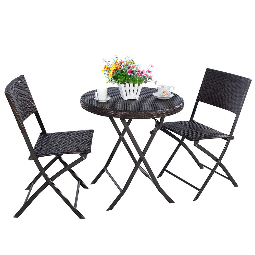 3pc folding round table chair bistro set rattan wicker for Outdoor patio table and chairs